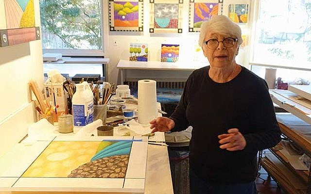 Judy Targan with a work in progress at her South Orange studio.