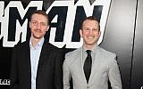 """Screenwriters David Rabinowitz, left, and Charlie Wachtel at the Los Angeles premiere of the film, """"BlacKkKlansman."""" The writing partners became friends while attending Hebrew school at East Brunswick Jewish Center. Photo courtesy David Rabinowitz"""