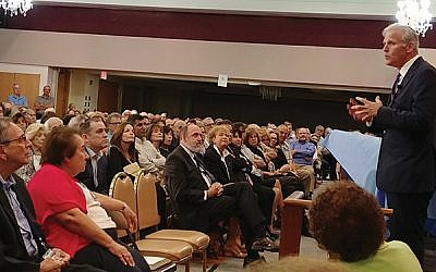 In his hometown of West Orange, Israeli Knesset member Michael Oren said that American Jews fail to recognize the realities facing Israelis. Photo by Elaine Durbach