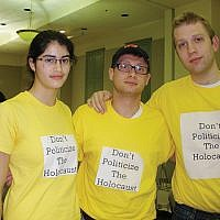 Some Rutgers Hillel students wore yellow T-shirts protesting comparisons of the Israeli treatment of Palestinians to treatment of Jews during the Holocaust. Photo by Debra Rubin