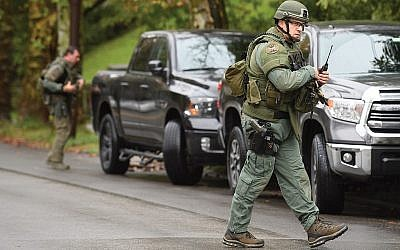The police presence was heavy this week in the Squirrel Hill section of Pittsburgh this week. Getty Images