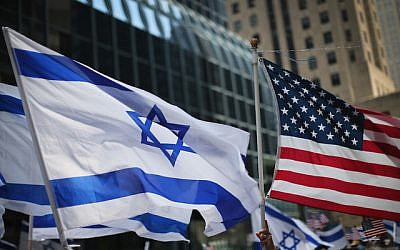 Israeli and American flags. JTA