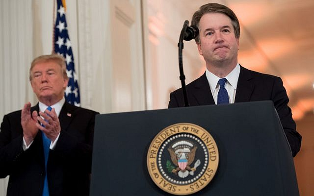 US Judge Brett Kavanaugh speaks after being nominated by US President Donald Trump (L) to the Supreme Court in the East Room of the White House on July 9, 2018 in Washington, DC. Getty Images