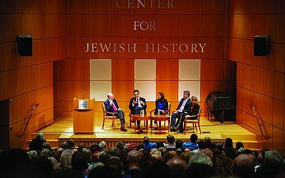 A discussion about how the Jewish vote would affect the midterms instead largely focused on whether the president harbors anti-Semitic beliefs. From left, Clyde Haberman, Julian Zelizer, Halie Soifer, Jeff Jacoby, and Rabbi Jill Jacobs. Photo by Gemma Solomons, Center for Jewish History