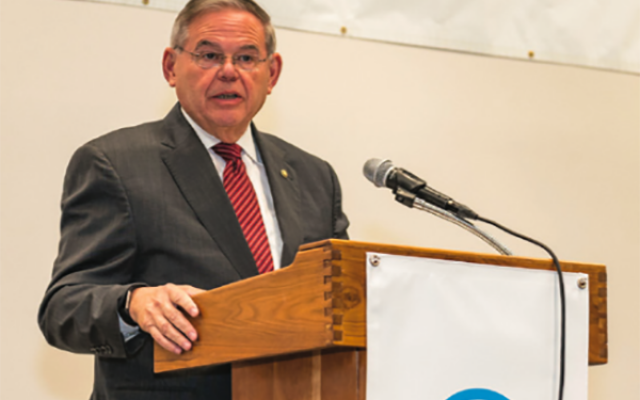 Sen. Robert Menendez said that his record in government demonstrates his support of issues important to the Jewish community.  Photos by Elaine DeYoung