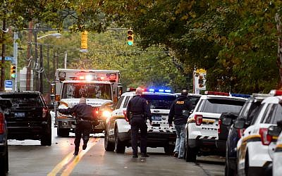 Police respond to the site of a mass shooting at the Tree of Life Synagogue in the Squirrel Hill neighborhood of Pittsburgh, Oct. 27, 2018. JTA