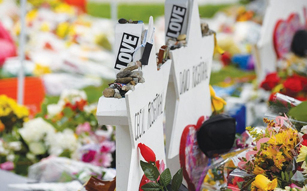 The makeshift memorial outside of Tree of Life synagogue in Pittsburgh last year. Getty Images