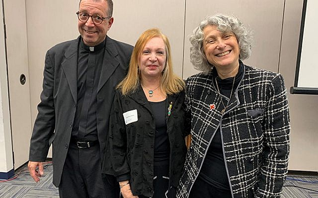 At the Creating a Caring Community Together conference are, from left, Father Joe Ciccone, Rabbi Ziona Zelazo, and Jocelyn Gilman. Photo by Johanna Ginsberg