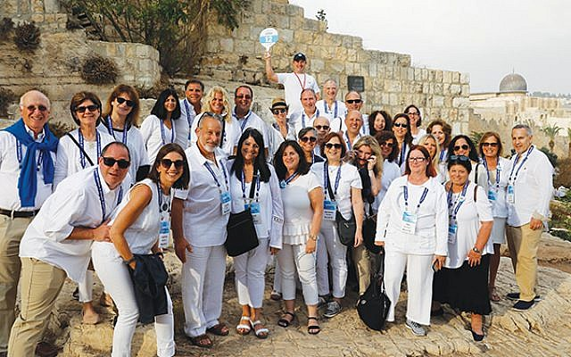 A busload of participants from Union County in the Old City of Jerusalem.