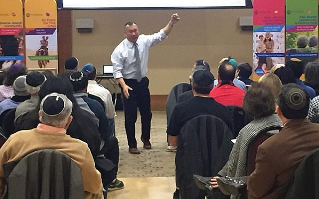 "Former FBI agent and active shooter expert Jin Kim told those gathered at a federation-sponsored security session that ""every individual has it in them to be their own first responder."" Photos courtesy Jewish Federation in the Heart of NJ"