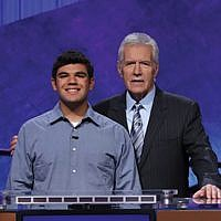 "Teen contestant Danny Oxman with ""Jeopardy!"" host Alex Trebek"
