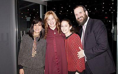 Judge Rachel Freier, at left, with Altie, Chana'le, and Rabbi Mendy Kasowitz of Chabad of West Orange. Photos by Efrat Bunker Weisblatt