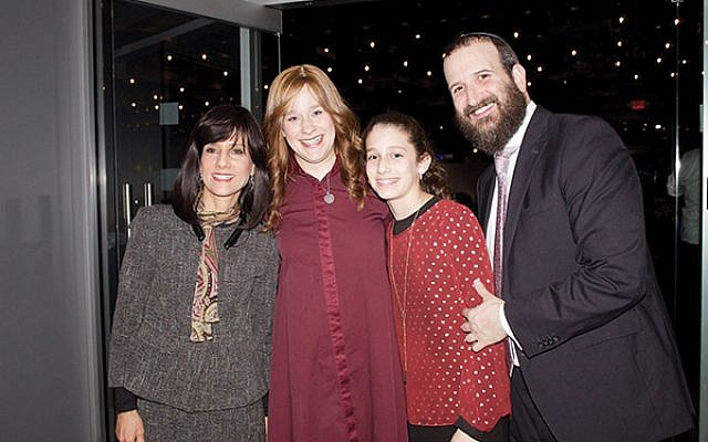 Judge Rachel Freier, at left, with Altie, Chana'le, and Rabbi Mendy Kasowitz of Chabad of West Orange. Photos by Efrat Bunker Weisblatt