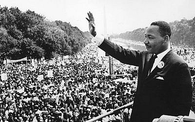 Black American civil rights leader Martin Luther King (1929 - 1968) addresses crowds during the March On Washington at the Lincoln Memorial, Washington DC, where he gave his 'I Have A Dream' speech. Getty Images