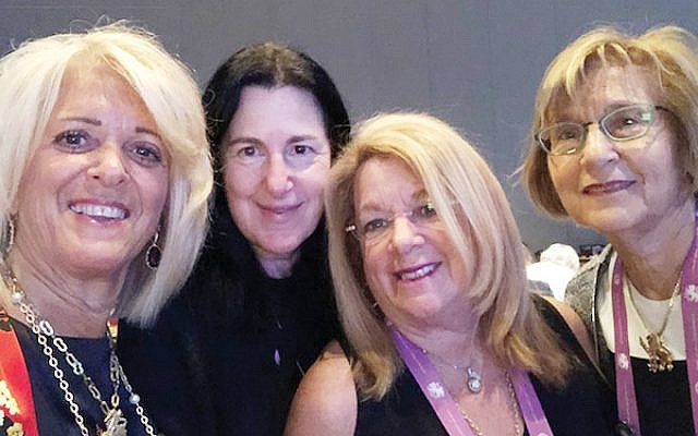 At the International Lion of Judah Conference are, from left, Kipnis-Wilson/Friedland Award winner Linda Block and Susan Antman, Brenda Tanzman, and Rona Shein.