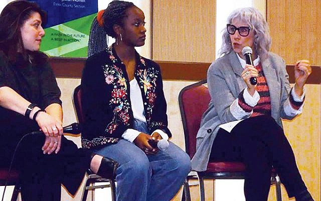"""From left, Jen Moore Conrow, Solange Azor, and """"Daily Show"""" co-founder Lizz Winstead, discuss breaking down barriers to protect reproductive rights at the NCJW/Essex Lunch and Learn on Jan. 24.  Photo courtesy NJCW/Essex"""