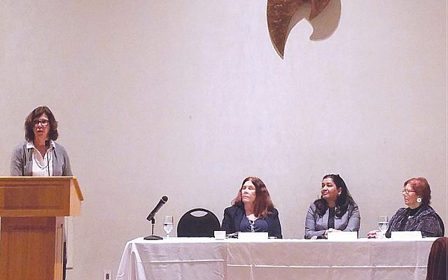 Deborah Prinz moderated the panel discussion that featured, seated from left, Cecilia Marzabadi, Prema Roddam, and Marsha Atkind.