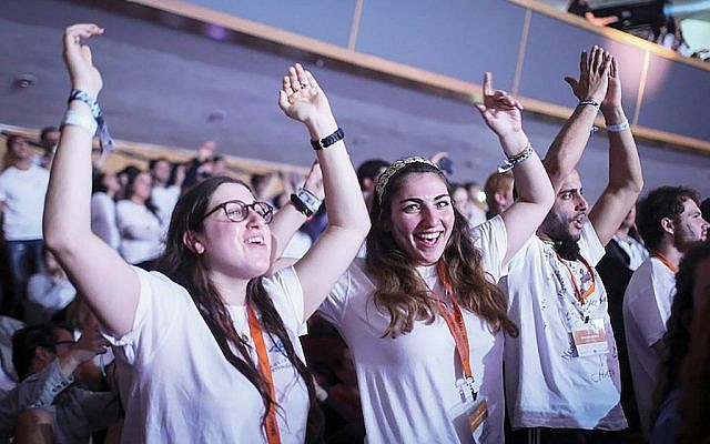 Birthright participants celebrate the program's 10th anniversary in Jerusalem in January 2015. Hadas Parush/Flash90