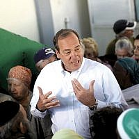 Rabbi Yechiel Eckstein at a Passover food distribution site in Lod, Israel, as part of his work with the International Fellowship of Christians and Jews. IFCJ