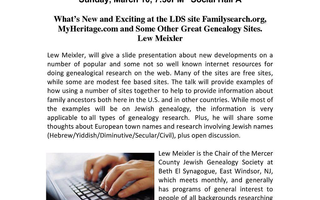 Mercer County Jewish Genealogy Society at Beth El Synagogue