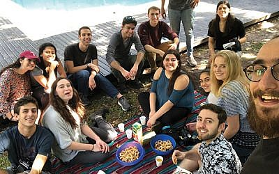 The Princeton CJL group takes a break from touring at Hillel Argentina in Buenos Aires. Photo by Julie Roth
