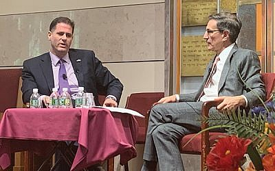 Ambassador on the record: Israel's Ambassador to the U.S. Ron Dermer, left, in a rare public interview with journalist Ethan Bronner Monday evening at Sutton Place Synagogue, sponsored by The Jewish Week. Photo by Gary Rosenblatt