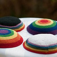 Illustrative image of LGBTQ rainbow kippas. Courtesy of 2queerjews