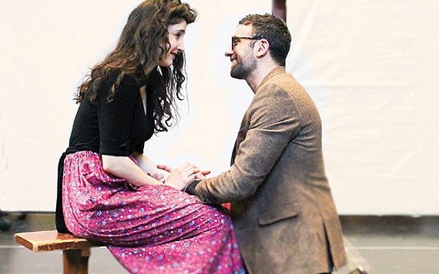 "Lauriel Friedman and Benjamin Pelteson in rehearsal for Mark Harelik's ""The Immigrant"" at George Street Playhouse. Photos Courtesy George Street Playhouse"
