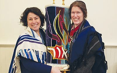 """Temple Micah's religious leader, Rabbi Elisa Goldberg, left, with cantorial soloist Adrienne Rubin, said congregants' level of intellectual and spiritual engagement is """"wonderful.""""  (Photo by Lisa Stone Hardt)"""