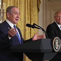 Israeli Prime Minister Benjamin Netanyahu speaking at a joint news conference with President Donald Trump at the White House, Feb. 15, 2017. (Getty Images)