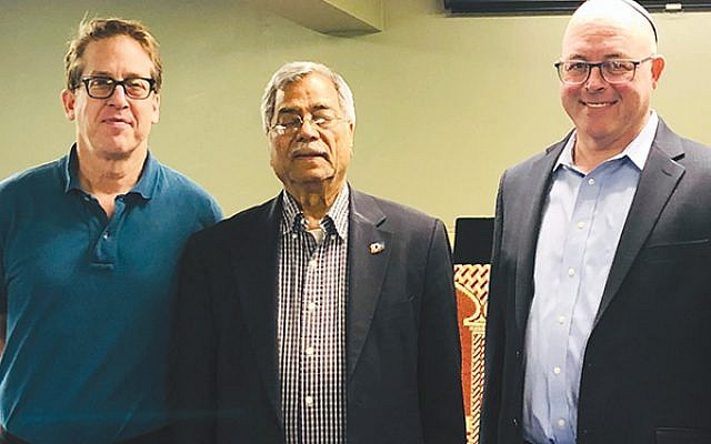 From left, Rabbi Robert Green of Congregation B'nai Israel; Dr. M. Ali Chaudry, president of the Islamic Society of Basking Ridge; and AJC New Jersey Director Rabbi David Levy before Jummah prayers May 3 at the Islamic Society of Basking Ridge.