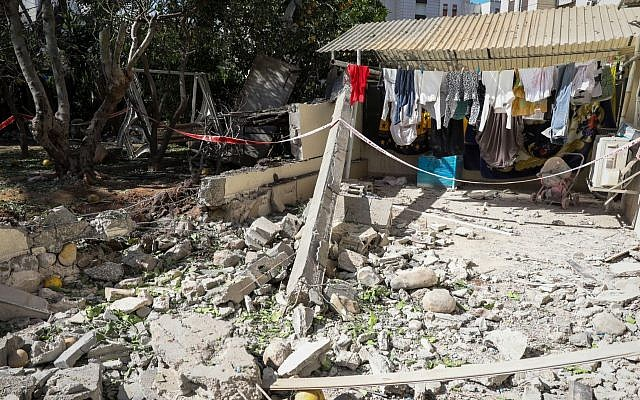 An apartment building hit by a rocket fired from the Gaza Strip in Ashkelon, in southern Israel, on May 5, 2019. JTA