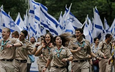 People march the annual Celebrate Israel Parade on June 3, 2018 in New York City. The parade marked the 70th anniversary of the founding of Israel. Getty Images