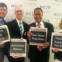 Panelists, from left, Kevin Lerner, Marshall Cohen, Rob Nelson, and Stephanie Clifford, at the NCJW Lunch and Learn at Temple B'nai Abraham in Livingston on May 8. Photo Courtesy NCJW/Essex