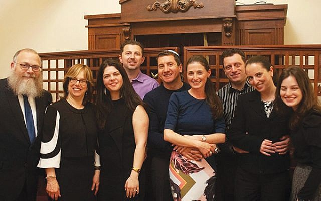 Rabbi Mendel and Rivkie Bogomilsky, from left, with Irina and Igor Guberuk, Alex and Marina Zelinsky, Slav and Inna Levin, and Zelda Bogomilsky. Photo courtesy Chai Center of Millburn/Short Hills