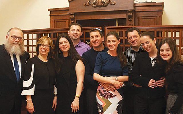 Rabbi Mendel and Rivkie Bogomilsky, from left, with Irina and Igor Guberuk, Alex and Marina Zelinsky, Slav and Inna Levin, and Zelda Bogomilsky. Photo courtesy Chai Center of Millburn/Short Hills
