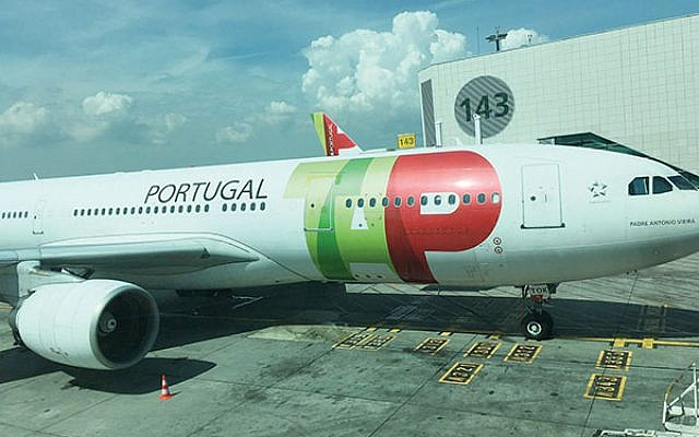 The plane that carried some 200 passengers on TAP Air Portugal's inaugural flight to Israel. Photos: Lori Silberman Brauner
