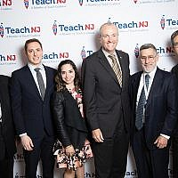 At the Teach NJ dinner are, from left, Allen Fagin, the OU's executive vice president and chief professional officer; Teach Advocacy Network's director of state political affairs, Dan Mitzner, and grassroots director, Renee Klyman; Gov. Phil Murphy; Rabbi Menachem Genack, CEO of the OU Kosher Division; and Josh Caplan, director of Teach NJ.