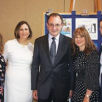 At An Evening of Laughter are honorees and event cochairs, from left, Erica Cohen Rechtweg, cochair Robin Polson, Fred Cohen, cochair Andrea G. Bier, and Seth Cohen.