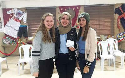 Sarah Schildkraut, at left, with Israeli-Arab teens during a Write On for Israel trip.