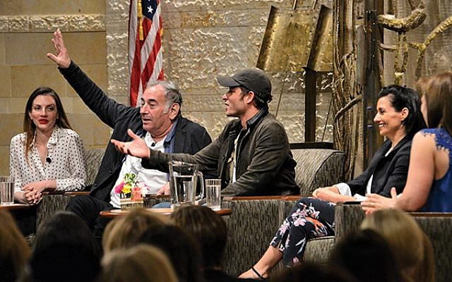 Doval'e Glickman, second from left, asks for volunteers to make a shidduch for Michael Aloni, to the delight of Neta Riskin, at left, producer Dikla Barkai, second from right, and moderator Dara Horn.