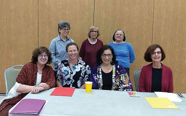 At the Raritan Valley Hadassah program are, from left, seated, panelists Eetta Prince-Gibson, Debra Lancaster, Meryl Frank, and Gayle Brill Mittler; and, standing, programming chairs Sue Dobkin, Roselyn Bell, and Elise Gonzalez. Photo by Debra Rubin