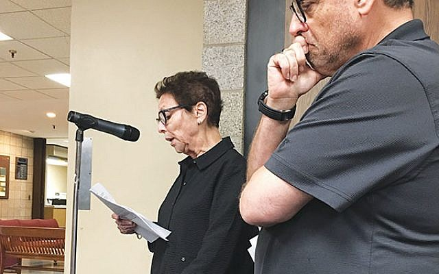 "Ruth Kolton told the council the library should not be promoting anti-Semitism by allowing the reading of ""P is for Palestine."" Standing aside her is her husband, Marc. Photos by Harry Glazer"