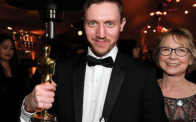 """David Rabinowitz, winner of the Adapted Screenplay award for """"BlacKkKlansman,"""" in February at the 91st Annual Academy Awards Governors Ball in Hollywood, Calif.  Photo by Kevork Djansezian/Getty Images"""