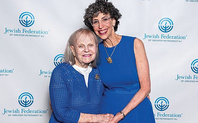 Rita Waldor, at left, with Jody Hurwitz Caplan, president of Women's Philanthropy, at the annual meeting in April when Waldor was presented with the President's Bamberger Award.