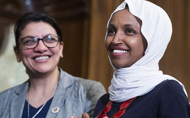 Rep. Rashida Tlaib, left, and Rep. Ilhan Omar. Members of the Modern Orthodox movement disagree whether Israel was correct in barring entry to them. Getty Images