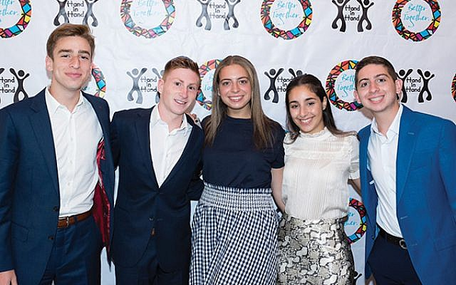 Teen volunteers honored at the Tribute Dinner include, from left, Sam Elbaum of Oakhurst, Daniel Massry of Oakhurst, Michelle Saka of Deal, Cerice Rishty of West Long Branch, and Eli Mizrach of Oakhurst. Photos courtesy Chabad of the Shore