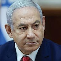 Prime Minister Benjamin Netanyahu at the weekly cabinet meeting on Sept. 8.  ABIR SULTAN/AFP/Getty Images