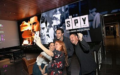 """Alona Tal, Isla Fisher, Sacha Baron Cohen, and Gideon Raff attend """"The Spy"""" screening and reception at Netflix Home Theater on September 05, 2019 in Los Angeles, California. Getty Images for Netflix"""