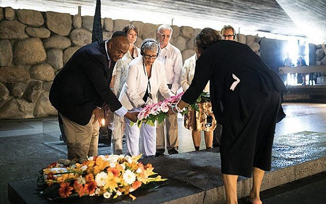 New Jersey Rep. Bonnie Watson Coleman lays a wreath at Yad Vashem during a 2017 trip to Israel. Photos courtesy office of Bonnie Watson Coleman